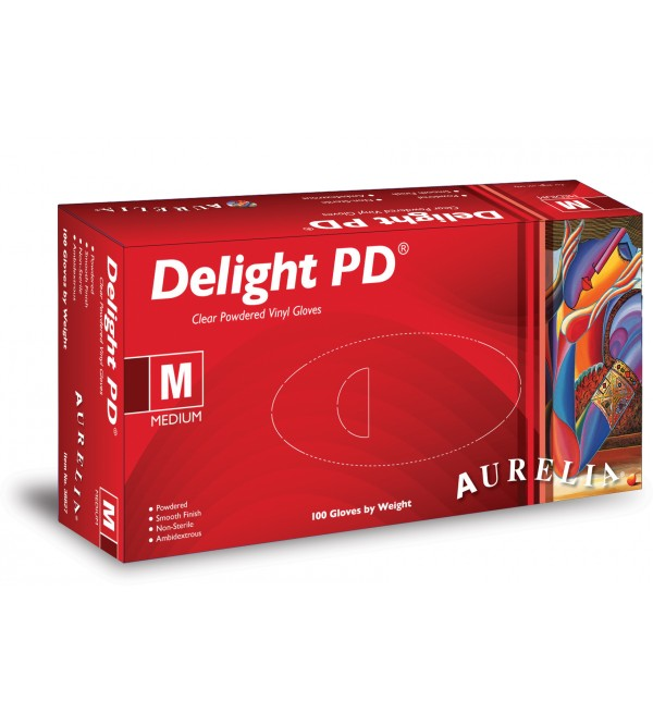 ***HALF PRICE CLEARANCE*** AURELIA® Delight Clear PD ® Examination Gloves (Vinyl, Powdered)